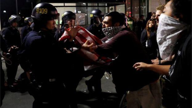violent mob attacks police -Reuters